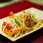 Spicy mango salad - prepared during a cooking class