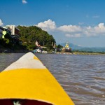 Motorized canoe down the Mekong river