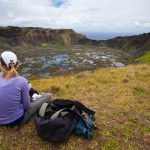 Enjoying an empanada at Rano Kau crater