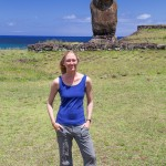 Laura and lone moai at Tahai