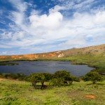 Volcanic crater lake of Rano Raraku