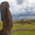 View of a moai at Rano Raraku