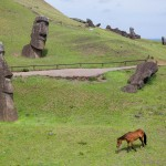 Horse among moai at Rano Raraku