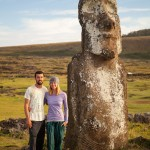 Us after sunrise with lone moai at Ahu Tongariki