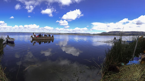 Clouds reflected on Lake Titicaca