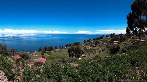 Scenic view of Taquile Island and Lake Titicaca