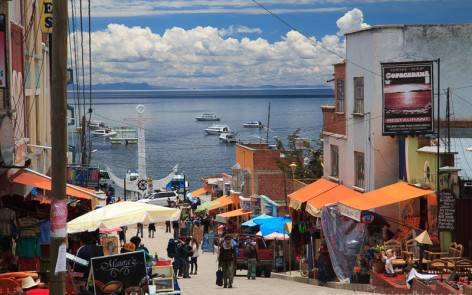 Main street in Copacabana, Bolivia leading to Lake Titicaca