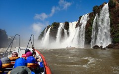 Jetboat approaching Iguazu Falls