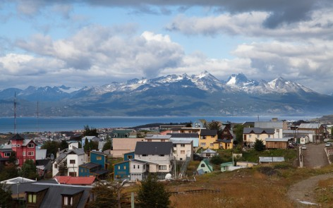 View of Ushuaia, Argentina town and harbor