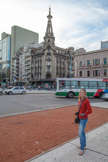 Girl on sidewalk in Buenos Aires, Argentina