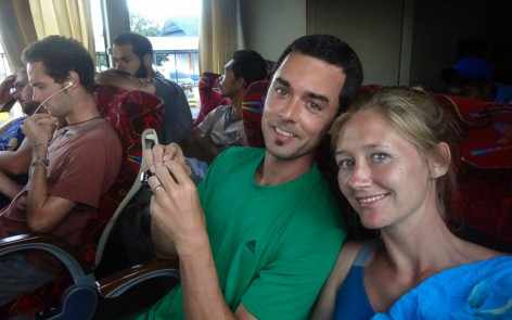 Travel photo of Kenny and Laura aboard bus from Mataram, Lombok to Bima, Sumbawa
