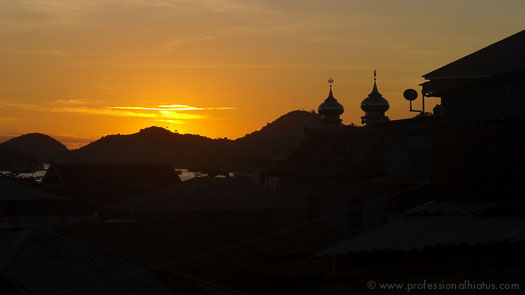 Sunset silhouette of mosques in Labuan Bajo, Flores, Indonesia
