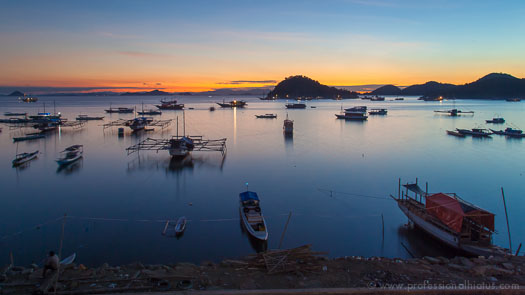 Sunset view of the Labuan Bajo, Flores harbor