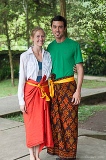 Kenny and Laura in sarongs at Tampaksiring temple