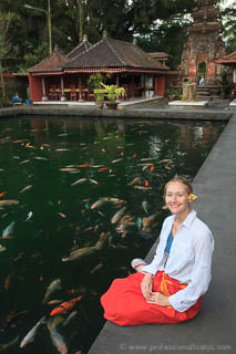 Laura at koi pond at Tampaksiring temple